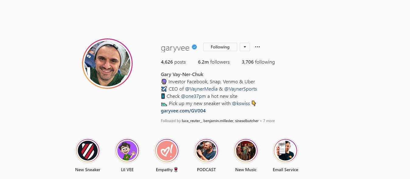 GaryVee's Instagram page